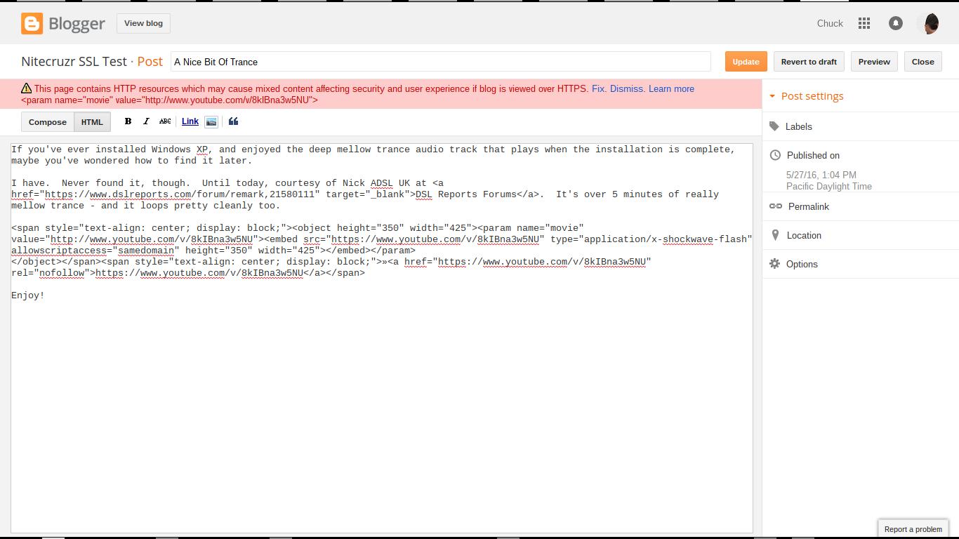 HTTPS Redirect And Post Editor HTTPS Warnings