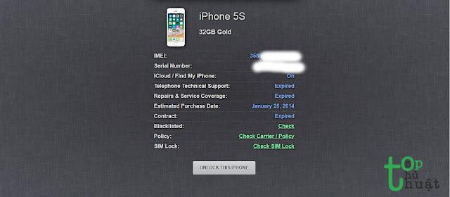 Các bạn lật mặt sau của chiếc máy ra và nhìn dòng chữ ở phía đuôi máy là biết được số IMEI.  Bước 2: Nhập đúng và chính xác những dòng chữ ở đuôi máy đó vào ô xác thực rồi nhấn nút hình mũi tên. Các bạn đợi một vài giây để hệ thống nhận diện chiếc iPhone của bạn.