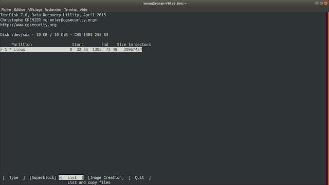 Menu partition de TestDisk