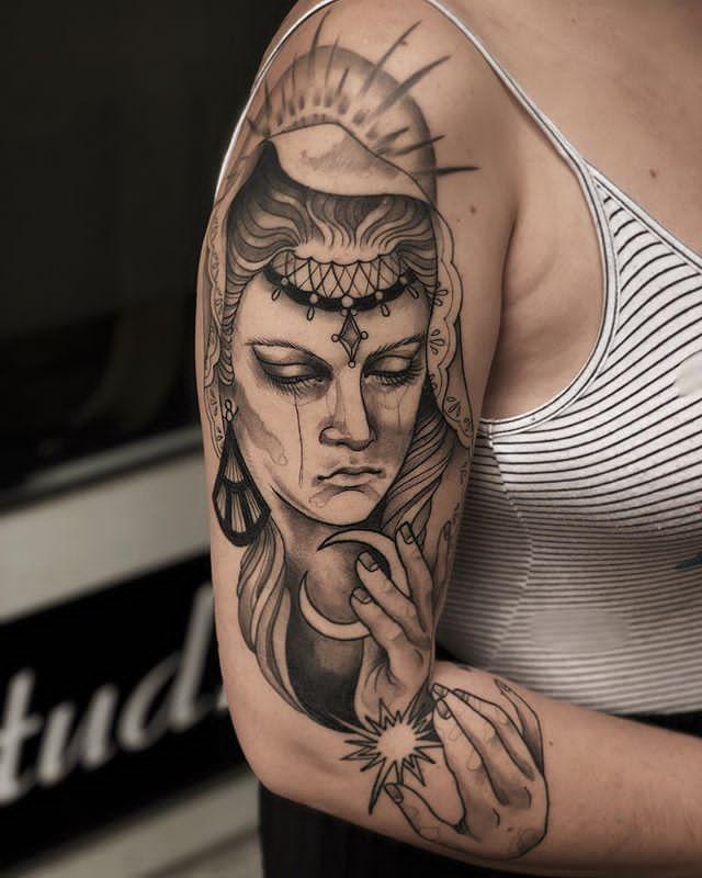 full sleeve earth tattoos