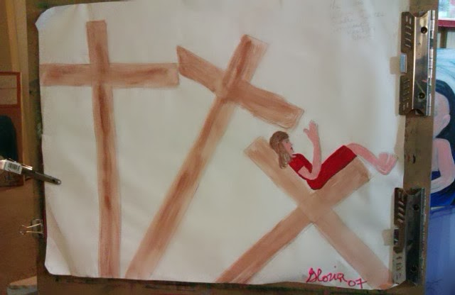 """The Cross becomes a chair"" sketch by Gloria Poole; watercolors; yr 2007"