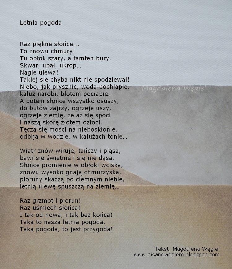Pisane Węglem Czyli Magdalena Węgiel Dla Dzieci Letnia Pogoda