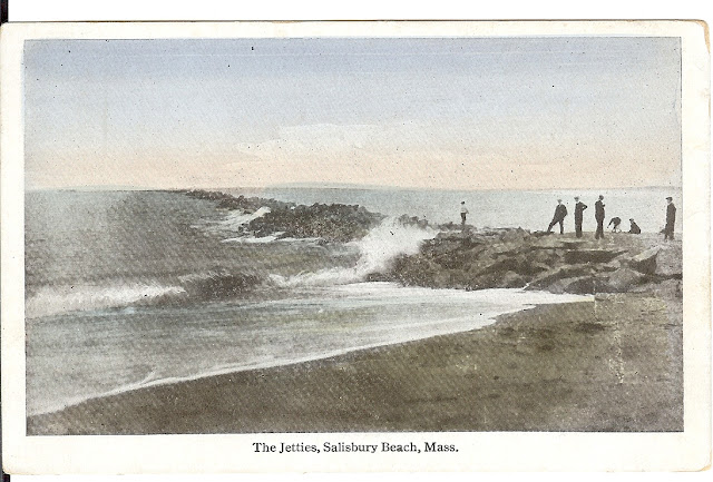 The Jetties - Salisbury Beach, Mass, antique, postcard