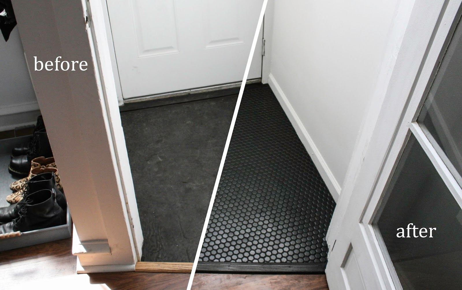 Before and After Hexagon Tile Floor in Vestibule