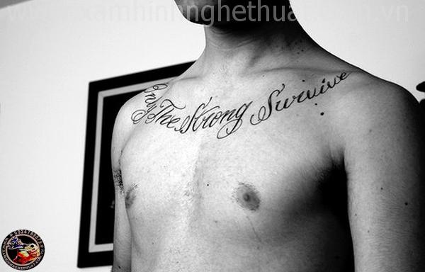 Hình xăm chữu ở ngực đẹp Tại sài gòn tphcm