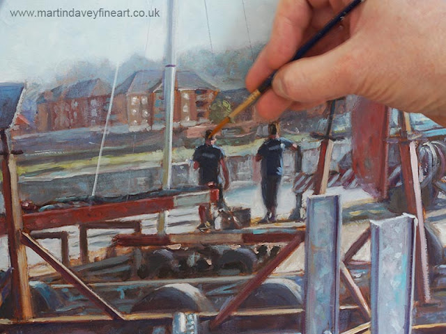 northam boat yard painting WIP close up