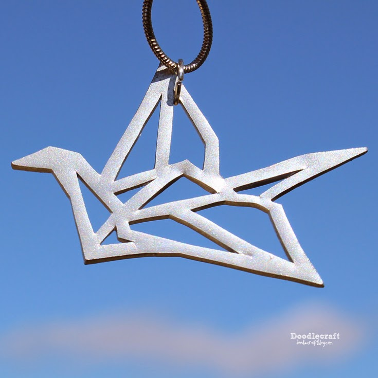 Doodlecraft Geometric Paper Crane Necklace