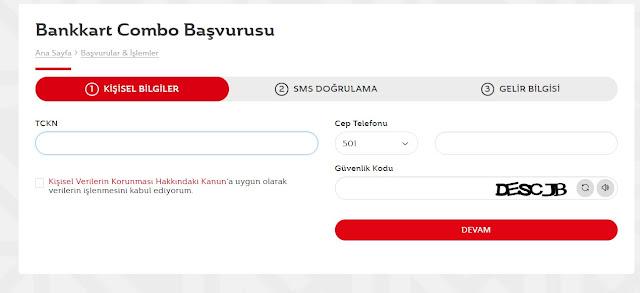 ziraat bankası bankkart combo başvuru ekranı
