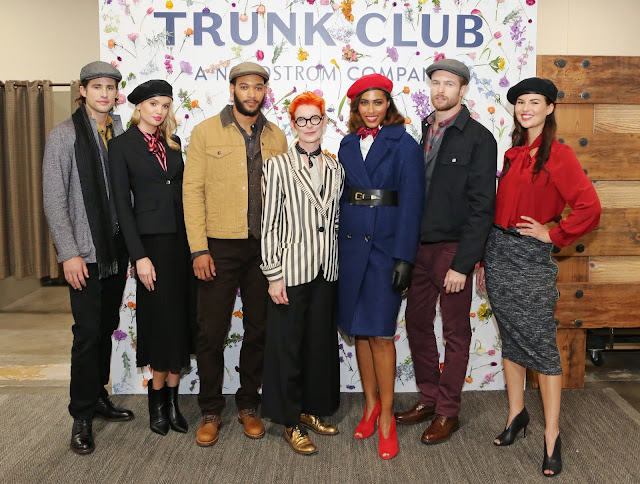 Costume designer Sandy Powell and models, wearing pieces from the Mary Poppins Returns Trunk