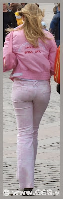 Girl in tight pants on the street