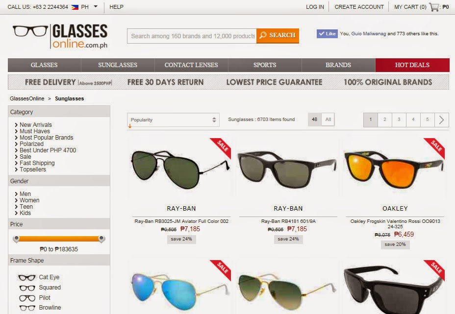 Glasses Online, Genuine Ray-Ban