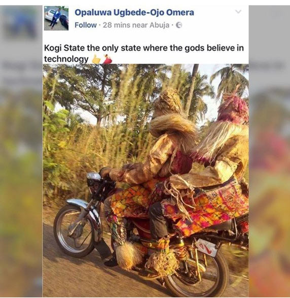Dafuq? Two masquerades were seen riding motocycle in Kogi