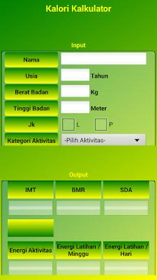 Aplikasi Android Penghitungan Kebutuhan Kalori Atlet dan Non-Atlet