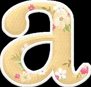 Lindo Alfabeto con Flores en Fondo Amarillo Pálido.