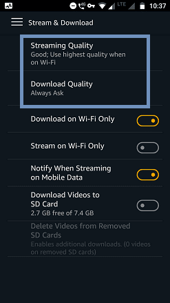 streaming and download quality