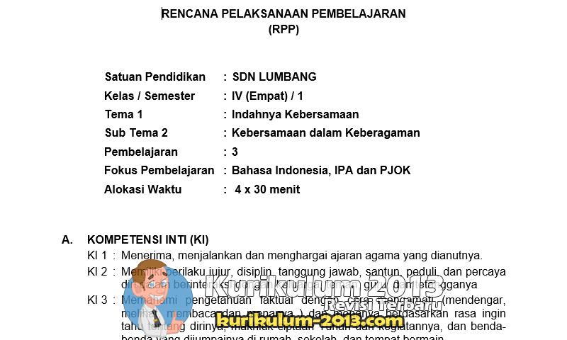 Download RPP Kurikulum 2013 Kelas 4 SD Revisi 2016