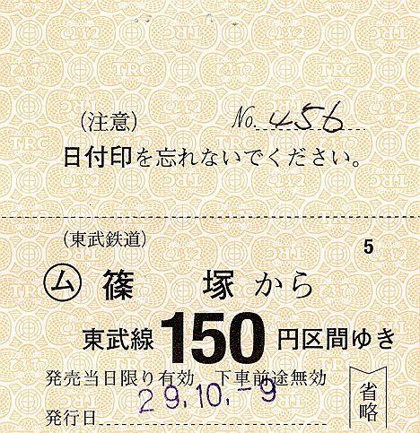 【1000円近い高額券!】東武 常備軟券乗車券 小泉線 篠塚駅(2017年)
