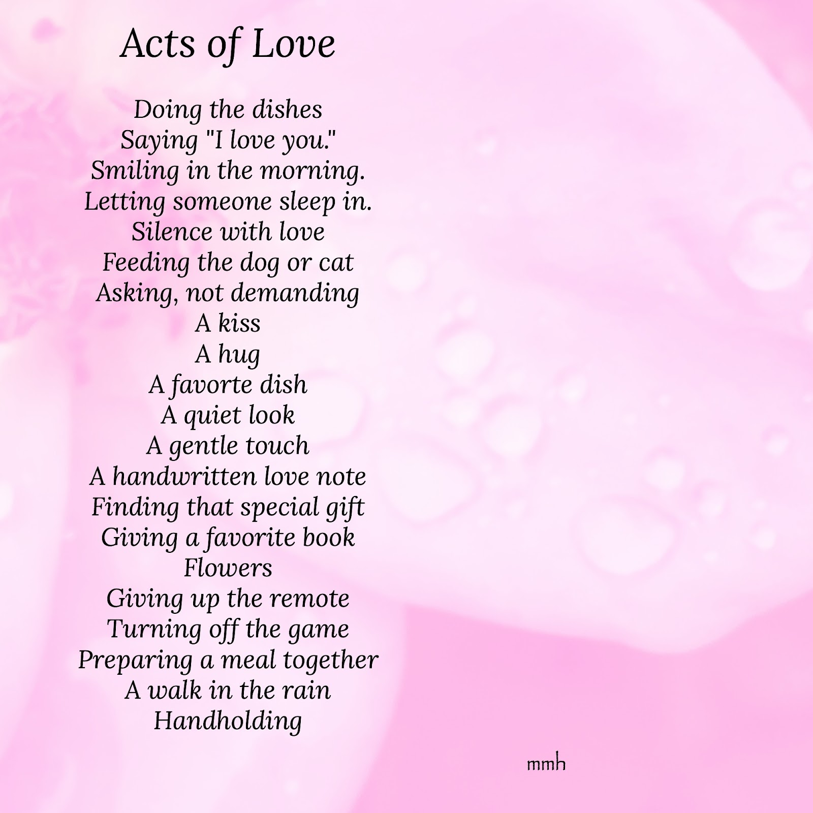For The Love Of Acts Of Love