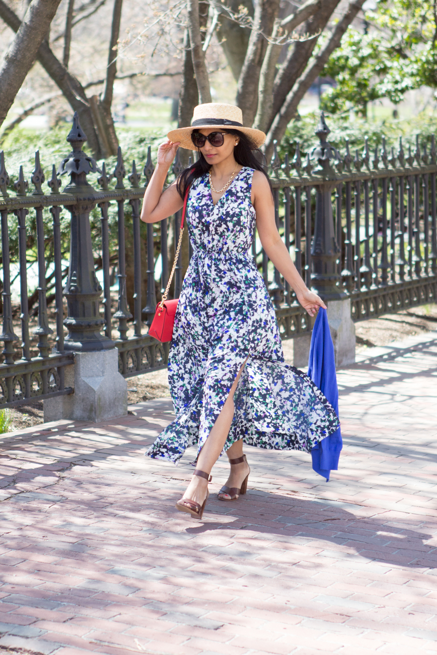 spring style, maxi dress, floral dress, floral maxi, cobalt blue, ann taylor, banana republic, jcrew, AEO, block heels, fashion blog, petite fashion, petite maxi, petite dresses, mommy style, mommy fashion, mom chic, mom glam, boater hat, straw hat, boston commons, spring lookbook, weekend style, garden party, indian blogger