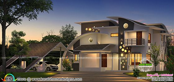 Unique house with cantilever balcony