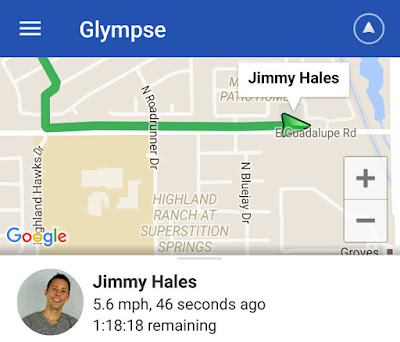 Glympse app in action