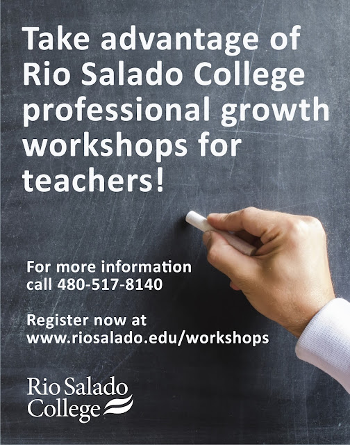 image of hand writing on a chalkboard.  Text: Take advantage of Rio Salado College professional growth workshops for teachers.