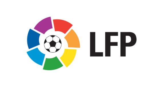 La Liga 2016 logo, White Outline With La Liga Badge and Black Text