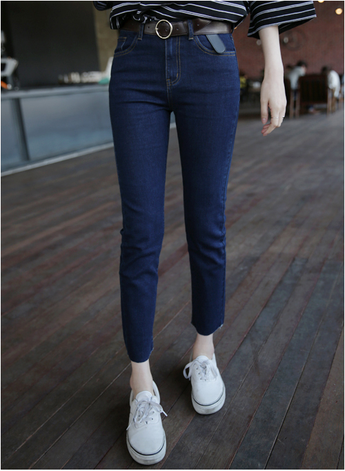 Slim Raw Hem Jeans
