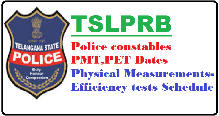 TS Constable PET/PMT schedule 2016 Telangana Police events exam dates call letter www.tslprb.in ...