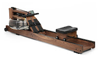 WaterRower Classic Rowing Machine in Black Walnut with S4 Monitor, water flywheel, recoil belt & pulleys, dual rails with 4 corner wheels for added seat stability