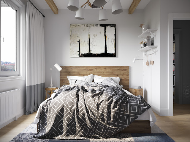 cadru de pat din lemn si amenajare moderna