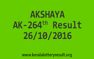 AKSHAYA AK 264 Lottery Results 26-10-2016
