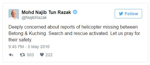 twitter najib, helikopter hilang, gambar twitter najib