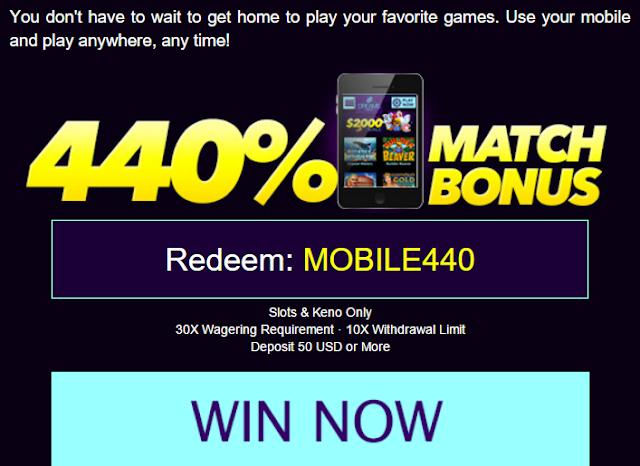 Dreams Mobile Casino Match Bonus Offer