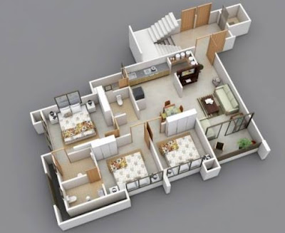 Model Denah Rumah 3 Kamar Tidur Minimalis 3D