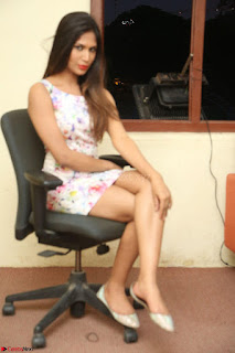 Nishi Ganda stunning cute in Flower Print short dress at Tick Tack Movie Press Meet March 2017 270.JPG
