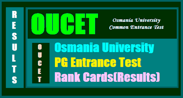OUCET Results Rank Cards, OU PGCET Rank Cards Results, OUPGCET Rank Cards Results