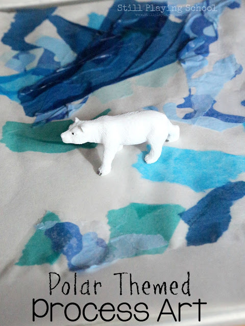Polar animal themed process art activity for kids