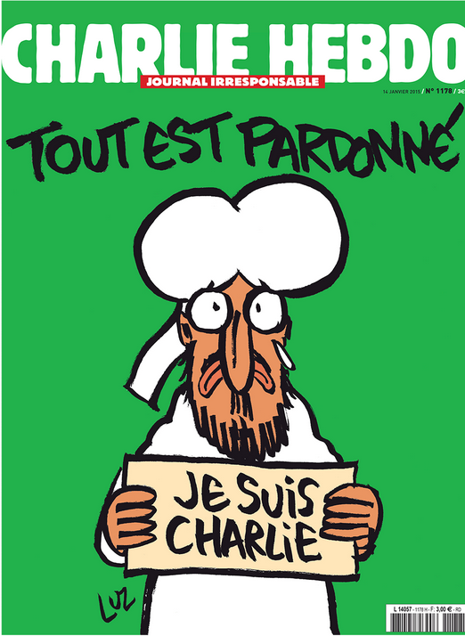 "Charlie Hebdo cover, January 2016, featuring a crying man in Muslim garb who may be Mohammed. Translation: (text) ""All is forgiven"" (sign held by the man) ""I am Charlie"""
