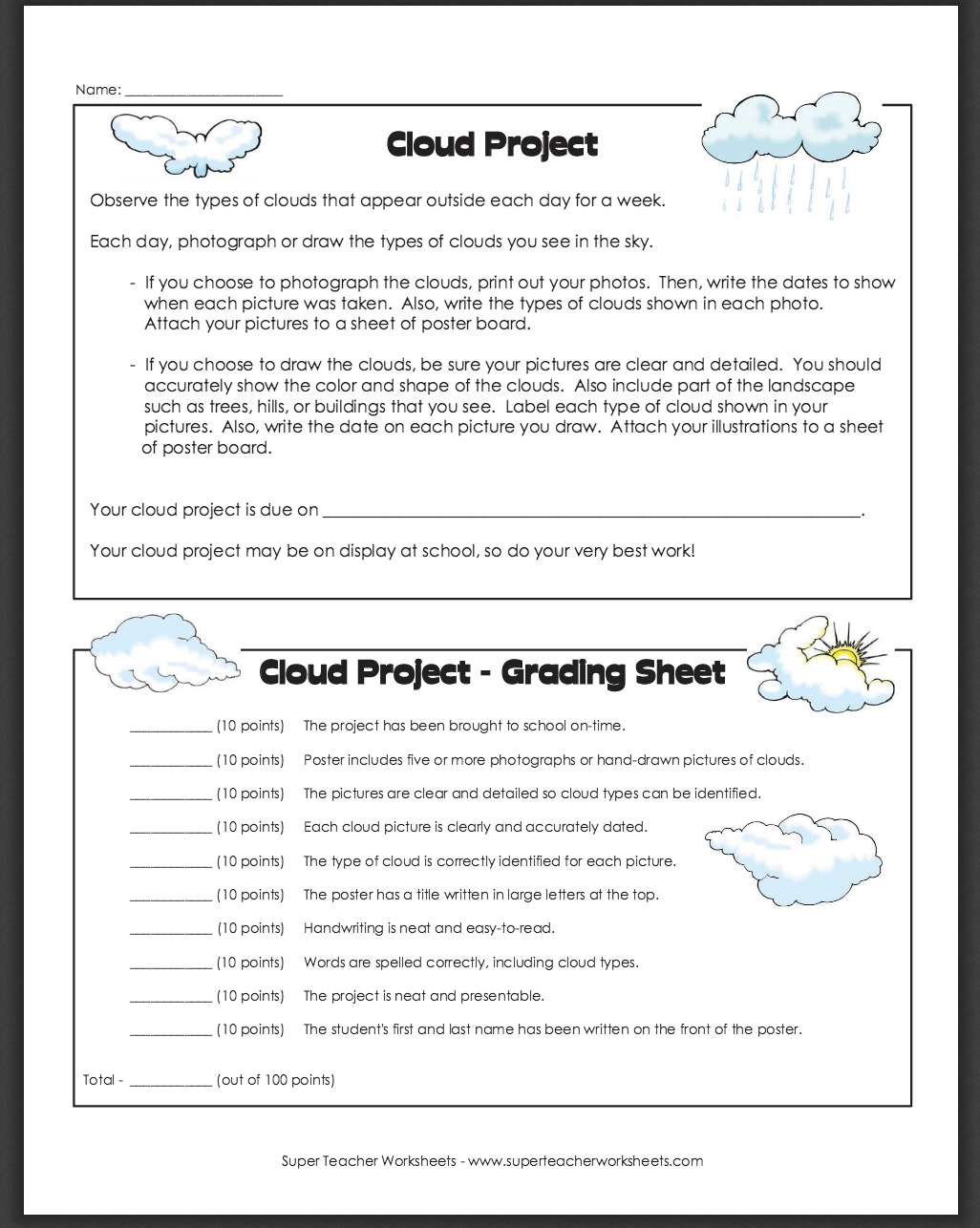 worksheet cloud worksheets grass fedjp worksheet study site. Black Bedroom Furniture Sets. Home Design Ideas