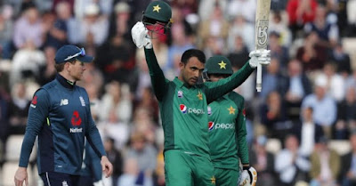 Fakhar Zaman celebrates his fourth ODI hundred