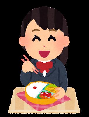 お弁当を食べる女子学生のイラスト