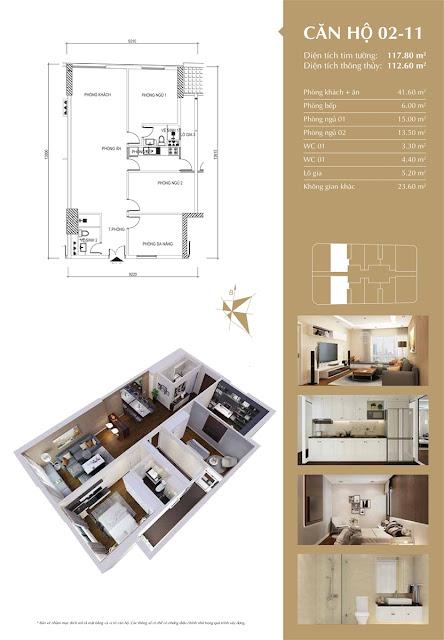 Thiết kế căn hộ 02-11 tòa IP1, diện tích 112m2, 2 phòng ngủ