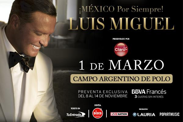 Luis Miguel anunció los shows de su gira en Buenos Aires y Córdoba