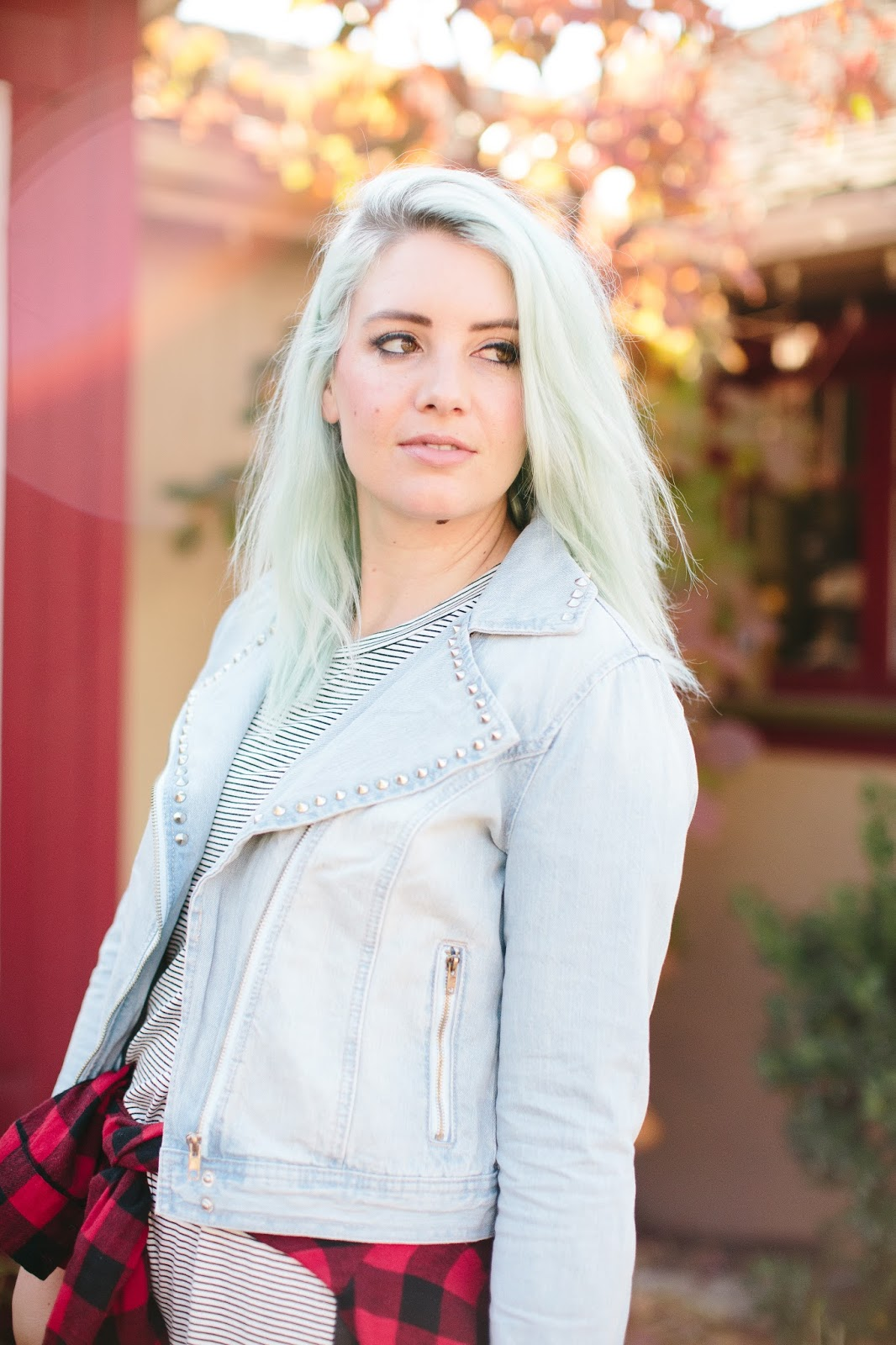 Jean Jacket, Blue Hair, Studded Jean Jacket