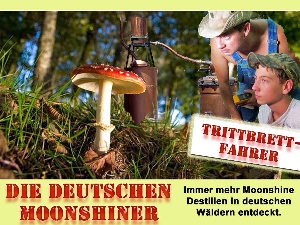 Lustige Moonshiner in deutschen Wäldern Satire