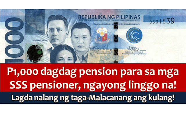 The long wait is over for pensioners of Social Security System or SSS that has been waiting for their P1,000 pension from the agency.  None other than the SSS Chairman Amado Valdez confirms that P1,000 increase in pension for SSS retirees will take effect this week.