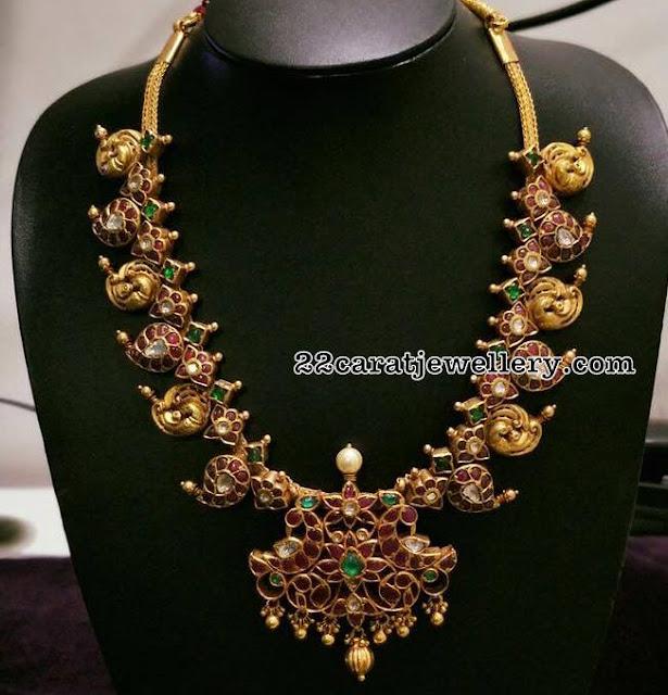 Nakash work Ruby Mango Necklace