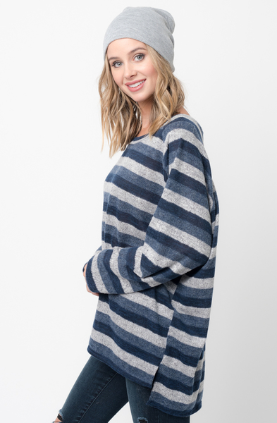 Shop for navy Hi Lo Long Sleeve Dolman Striped Sweater Tunic on Caralase.com