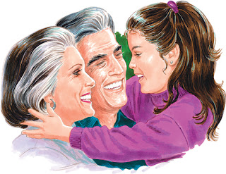 Clipart image of a little girl smiling at her grandparents